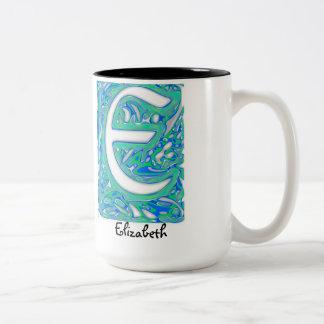E Swirly Letter Mug w/ Elizabeth