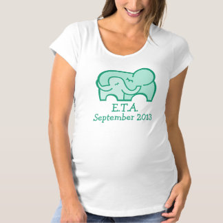 E.T.A. due date elephant hug maternity green tee