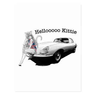 E-type Jag with hot cat girl Postcard