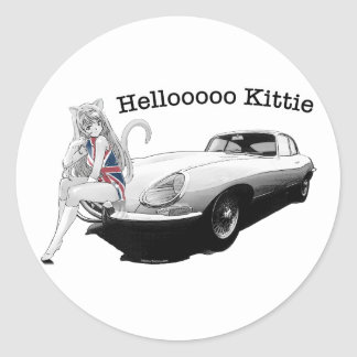 E-type Jag with hot cat girl Stickers