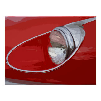 E-TYPE JAGUAR HEADLIGHT POSTER