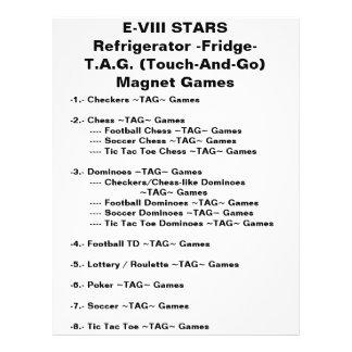 E-VIII STARS Refrigerator (Fridge) Magnet Games Flyer