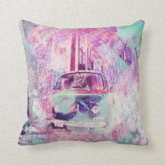 E Wagon Dreams in SanFransco aka HippyVille Throw Pillow