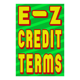 E-Z CREDIT TERMS RETAIL POSTER