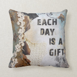 Each Day Is A Gift Mixed Media | Throw Pillow