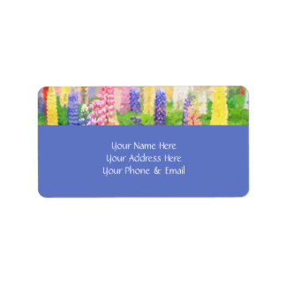 Each Day is a New Beginning Colorful Lupine Flower Label