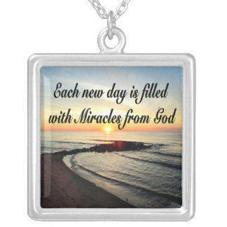 EACH DAY IS MIRACLES FROM GOD SQUARE PENDANT NECKLACE