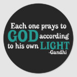 Each One Prays To God According To His Own Light Round Stickers