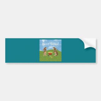 Eager Bunny Rabbit with Wheelbarrow of Carrots Bumper Sticker