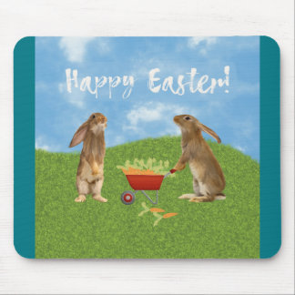 Eager Bunny Rabbit with Wheelbarrow of Carrots Mouse Pad