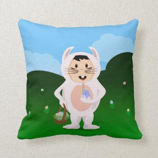 Eager Easter Boy Throw Pillow