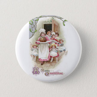 Eager for Plum Pudding Vintage Christmas Button