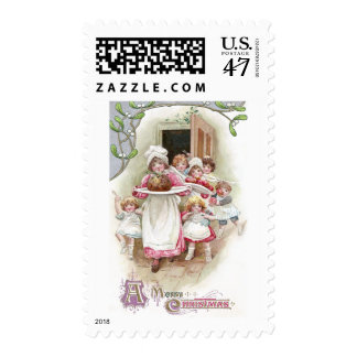 Eager for Plum Pudding Vintage Christmas Postage Stamp