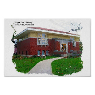 Eager Free Library Evansville Wisconsin Watercolor Poster