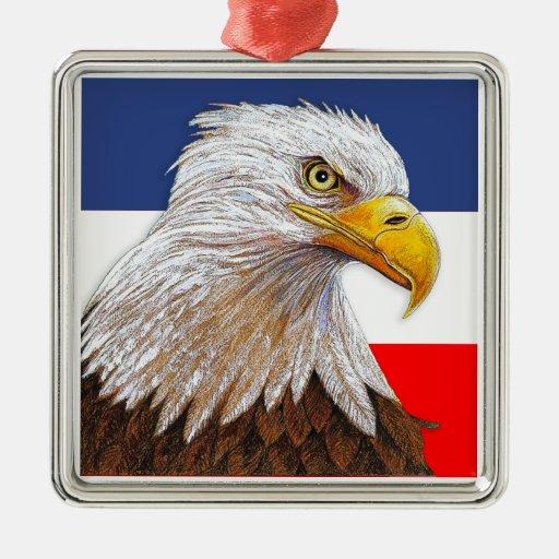 Eagle Adorno Cuadrado Plateado