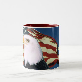 Eagle American Flag Coffee Cup Two-Tone Coffee Mug