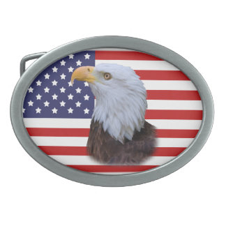 Eagle and American Flag Belt Buckle