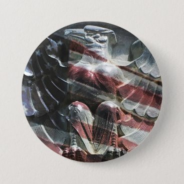 Eagle and American Flag Button