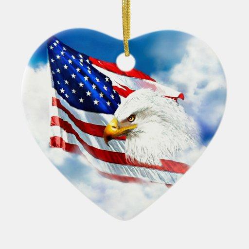 Eagle and american flag ceramic ornament zazzle