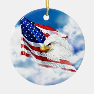 Eagle and American Flag Ceramic Ornament