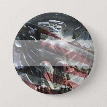 Eagle and American Flag Name Tag Button