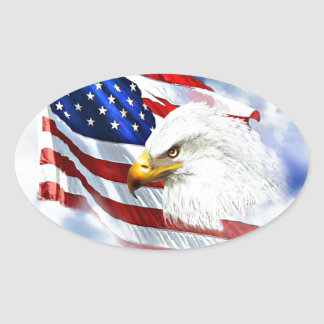 Eagle and American Flag Oval Sticker