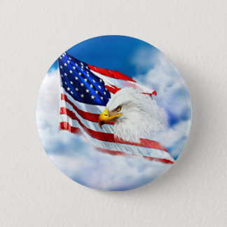 Eagle and American Flag Pinback Button