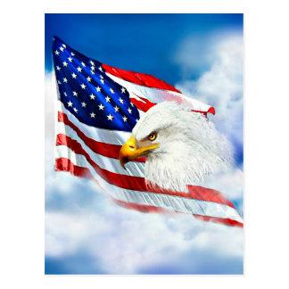 Eagle and American Flag Postcard