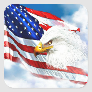 Eagle and American Flag Square Sticker