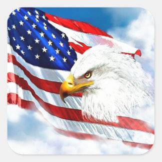 Eagle and American Flag Square Sticker