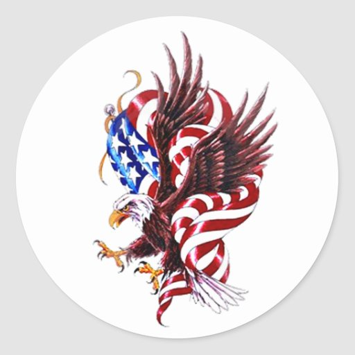 Eagle and American Flag Tatoo Illustration Style Classic Round Sticker