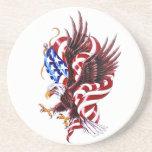 Eagle and American Flag Tatoo Illustration Style Beverage Coasters