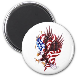 Eagle and American Flag Tatoo Illustration Style Fridge Magnets