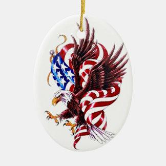 Eagle and American Flag Tatoo Illustration Style Christmas Tree Ornament