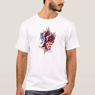 Eagle and American Flag Tattoo Illustration Style T-Shirt