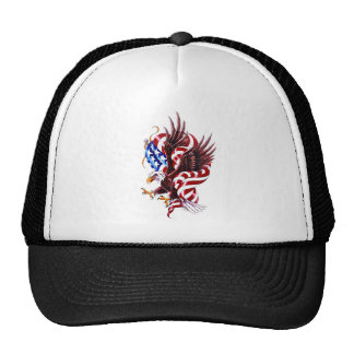 Eagle and American Flag Tattoo Illustration Style Trucker Hat