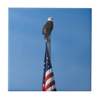 Eagle and American Flag - Tile