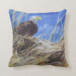 Eagle and bald eagles nest painting birds throw pillow