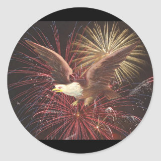 Eagle and Fireworks Classic Round Sticker