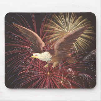 Eagle and Fireworks Mouse Pad