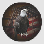 Eagle and Flag Distressed Round Stickers