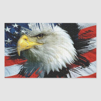 Eagle and Flag on an American Foundation Rectangular Sticker