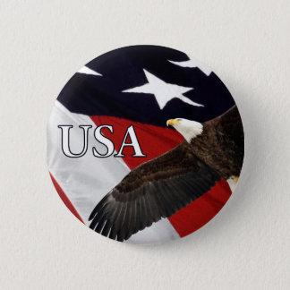 Eagle and Flag USA Button