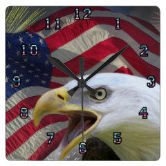 Eagle and flag wall clock