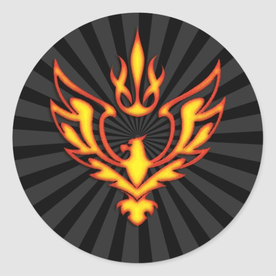 EAGLE AND FLAME CLASSIC ROUND STICKER