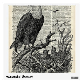Eagle and its nest on Dictionary book page Room Graphic