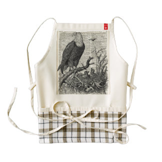 Eagle and its nest on Dictionary book page Zazzle HEART Apron