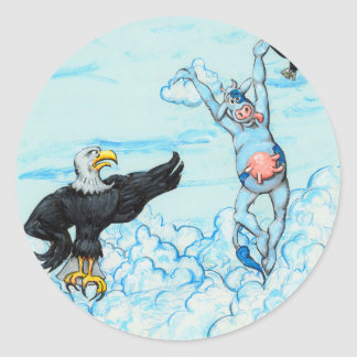 Eagle and Leaping Cow Classic Round Sticker