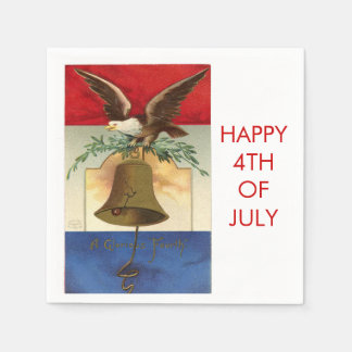 Eagle and Liberty Bell Retro Patriotic 4th of July Paper Napkin