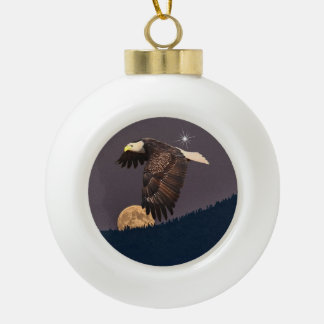 EAGLE AND MOON CERAMIC BALL CHRISTMAS ORNAMENT